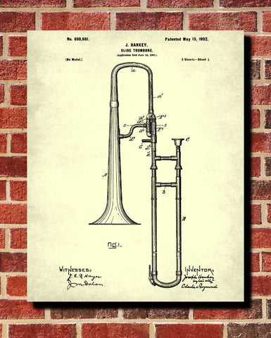 Slide Trombone Patent Print Orchestra Musical Instrument Poster