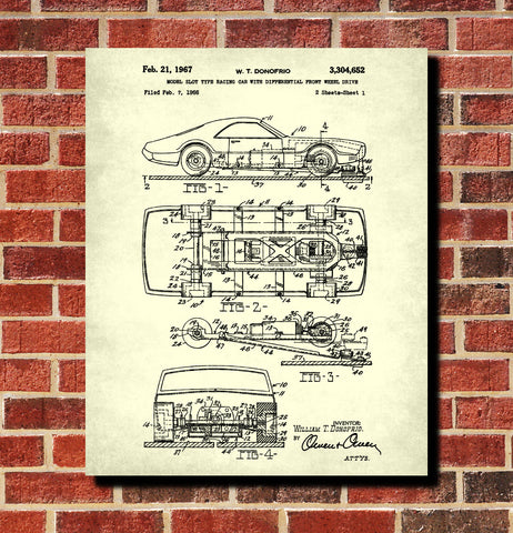 Slot Car Racer Patent Print Bar Blueprint Man Cave Poster