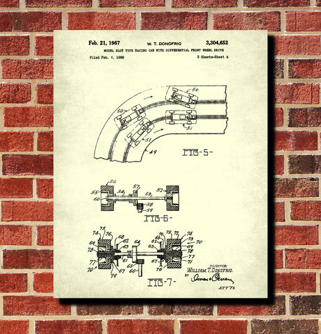 Slot Car Patent Print Game Blueprint Man Cave Poster
