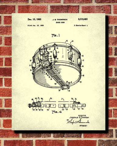 Snare Drum Patent Print Drumming Blueprint Music Poster - OnTrendAndFab
