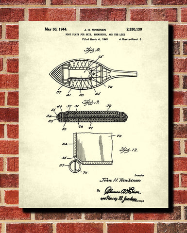 Snow Shoes Patent Print Trekking Blueprint Winter Sports Poster - OnTrendAndFab