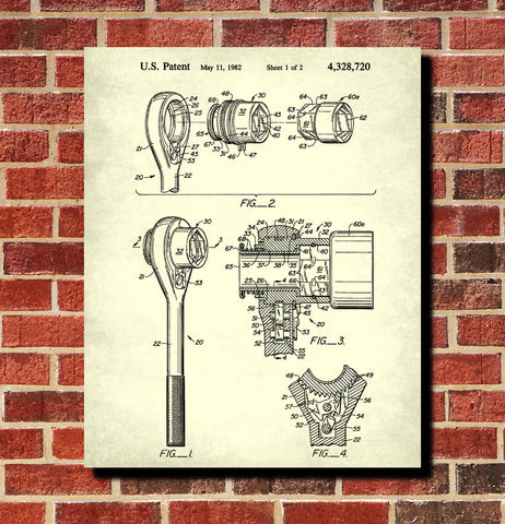 Socket Wrench Patent Print Hand Tools Blueprint Workshop Poster
