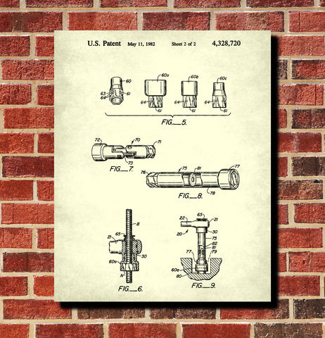 Socket Wrench Patent Print Hand Tool Blueprint Workshop Poster