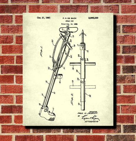 Spear Gun Patent Print Scuba Diving Blueprint Sports Poster