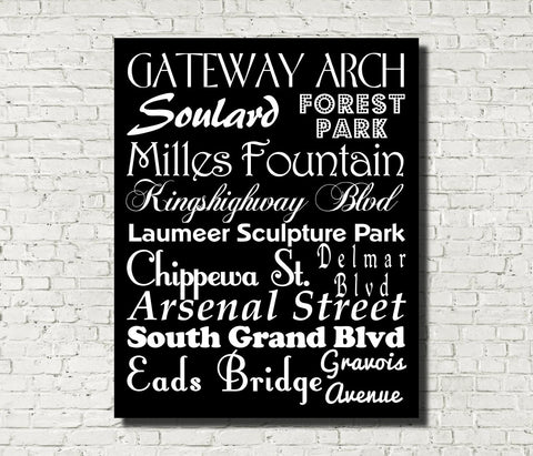 St Louis Neighbourhood Print Typography Scroll