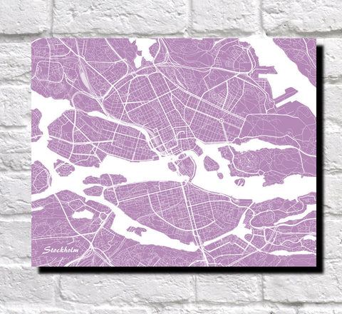 Stockholm City Street Map Print Custom Wall Map