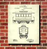 Streetcar Blueprint Tram Patent Print Trolley Car Art Poster