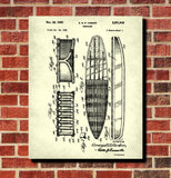 Surf Board Patent Print Water Sports Blueprint Surfing Poster
