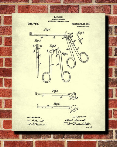 Medical Patent Poster Surgical Forceps Wall Art Print - OnTrendAndFab