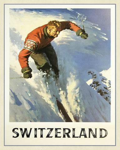Switzerland Winter Ski Print Vintage Travel Poster Art