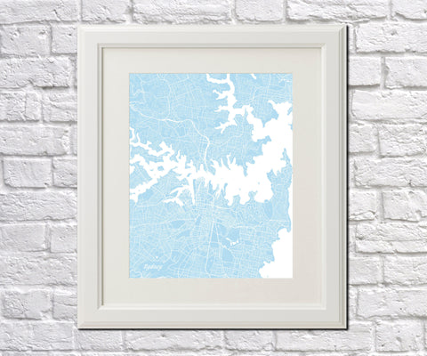 Sydney City Street Map Print Feature Wall Art Poster