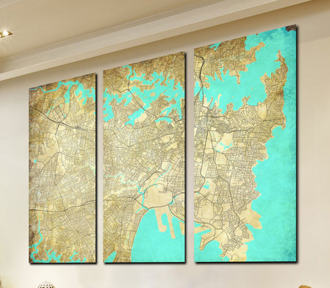 Sydney Street Map 3 Panel Canvas Wall Map