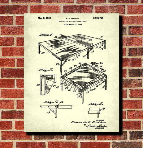 Table Tennis Patent Print Games Poster Sports Blueprint