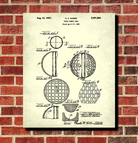 Table Tennis Ball Patent Print Games Poster Sports Blueprint