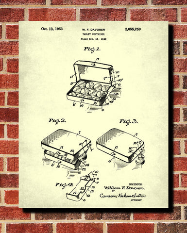 Pharmacy Patent Print Pill Box Wall Art Poster - OnTrendAndFab