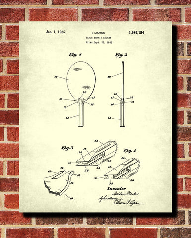 Table Tennis Bat Patent Print Games Blueprint Sports Poster - OnTrendAndFab