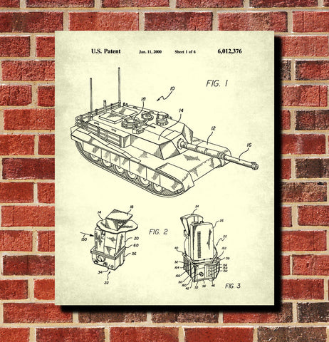 Tank Patent Print Military Poster Weapons Blueprint