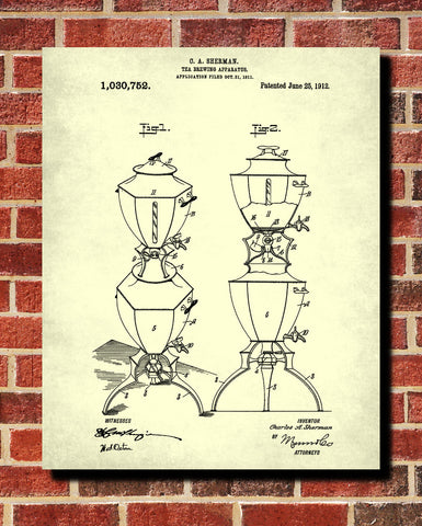 Tea Patent Print Brewing Blueprint Cafe Kitchen Poster