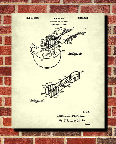 Tea Patent Print Squeezer Blueprint Cafe Kitchen Poster - OnTrendAndFab