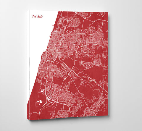 Tel Aviv City Street Map Print Feature Wall Art Poster