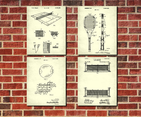 Tennis Patent Prints Set 4 Sport Blueprint Posters