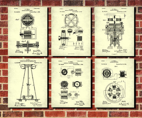 Science medicine patents tagged categoriespatent art page 3 nikola tesla patent prints set 6 blueprint designs electrical posters malvernweather Choice Image