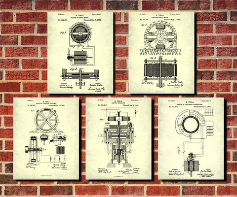 Nikola Tesla Patent Prints Set 5 Science Posters