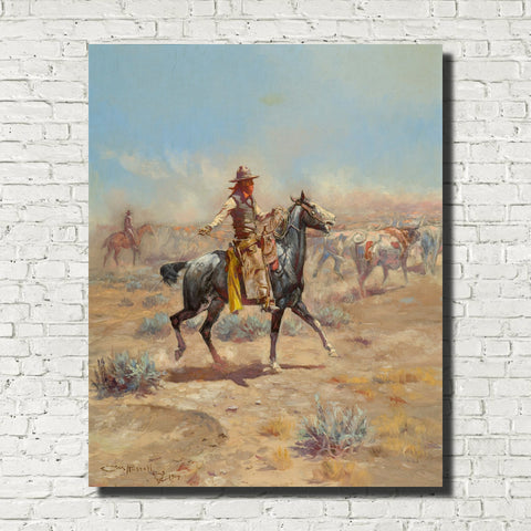 Charles Marion Russell, Fine Art Print : Through The Alkali, Wild West Painting