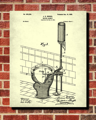 Toilet Blueprint Bathroom Art Patent Print Wall Art Poster - OnTrendAndFab