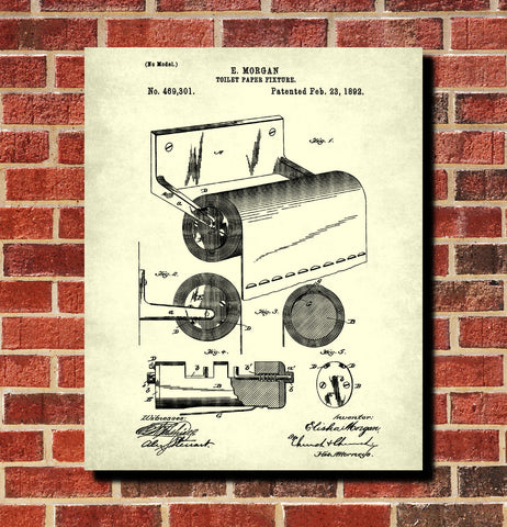 Toilet paper holder patent print bathroom wall art blueprint art toilet paper holder patent print bathroom wall art blueprint art poster malvernweather Gallery