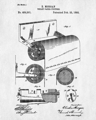 Toilet paper holder patent print bathroom wall art blueprint art toilet paper holder patent print bathroom wall art blueprint art poster malvernweather Images