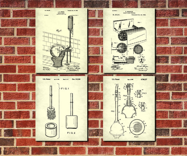 Toilet Wall Art Set of 4 Patent Prints Bathroom Decor
