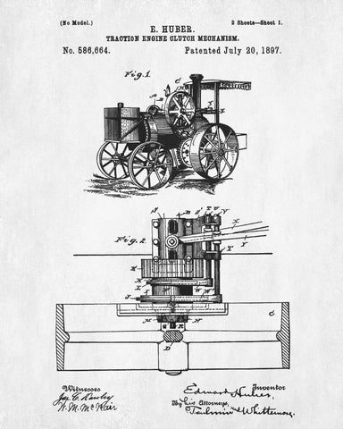 Traction Engine Patent Print Vintage Steam Engine Poster