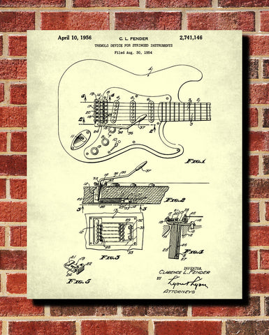 Guitar Tremolo Patent Print Musical Instrument Blueprint Music Poster - OnTrendAndFab