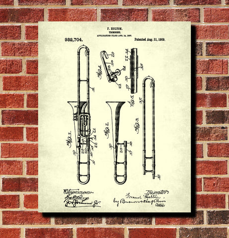Trombone Patent Print Orchestra Musical Instrument Poster