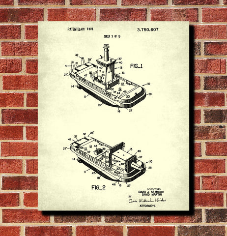 Tug boat blueprint art nautical patent print sailing poster tug boat blueprint art nautical patent print sailing poster malvernweather Gallery