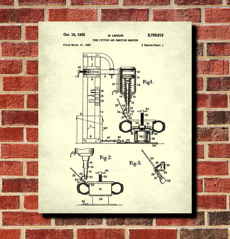 Tyre Fitting Patent Print Garage Blueprint Workshop Poster