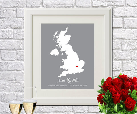 UK Custom Wedding Engagement Art Print