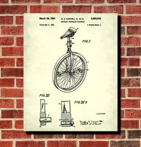 Unicycle Patent Print Cycling Poster Bicycle Blueprint
