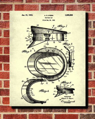 Uniform Cap Patent Print Police Wall Art Poster - OnTrendAndFab