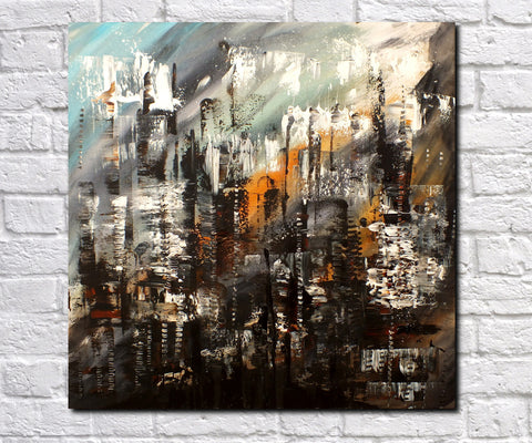 Original Painting James Lucas, Urban Change Cityscape Abstract