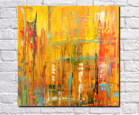 Original Painting James Lucas, Urban Decay Cityscape Abstract