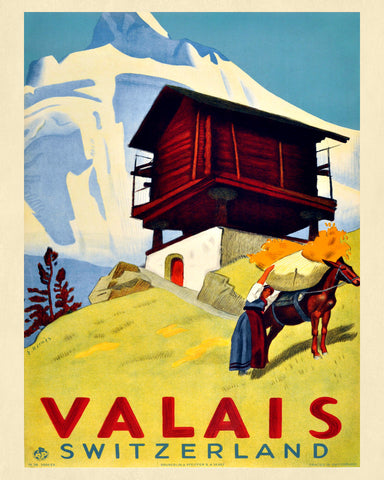 Valais Switzerland Print Vintage Travel Poster Art - OnTrendAndFab