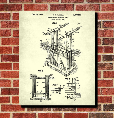 Vehicle Lift Patent Print Garage Blueprint Workshop Poster