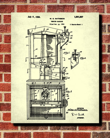 Vending Machine Patent Print Man Cave Poster Gum Ball Blueprint - OnTrendAndFab