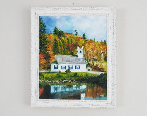 Vermont Church Autumn Landscape Oil Painting by Andi Lucas