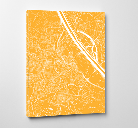 Vienna City Street Map Print Modern Feature Wall Art Poster