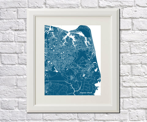 Virginia Beach, USA Street Map Print Feature Wall Art Poster