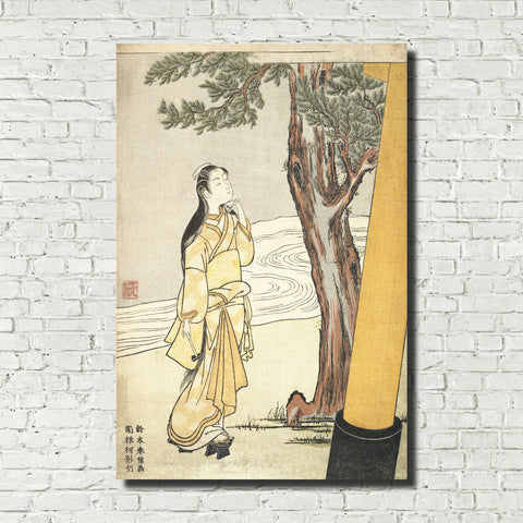 Suzuki Harunobu, Japanese Art Print : Visiting a Shrine