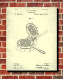 Waffle Iron Patent Print Cafe Poster Kitchen Wall Art - OnTrendAndFab